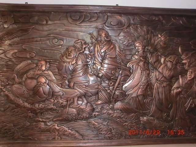 八仙过海铜浮雕壁画